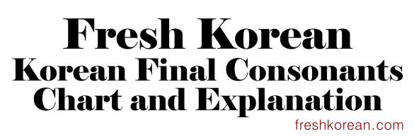 Fresh Korean Final Consonants Banner