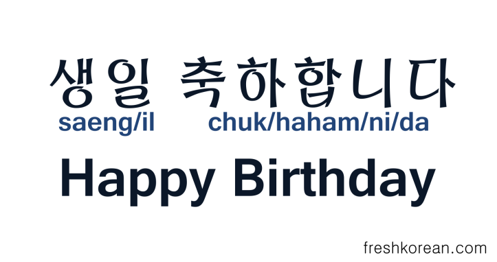 Happy Birthday in Korean - Fresh Korean 2