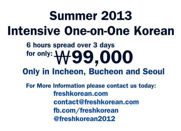 Intensive Korean Summer Course 2013 - Fresh Korean
