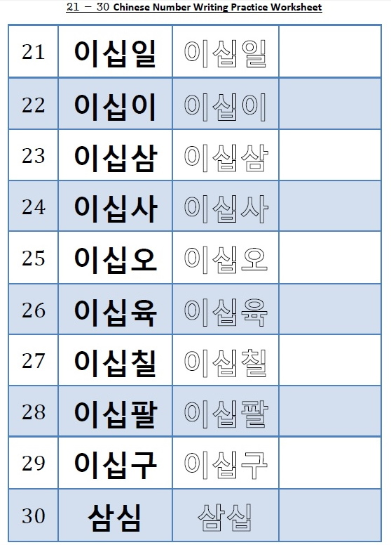 Sino Korean Number Worksheet 21 - 30