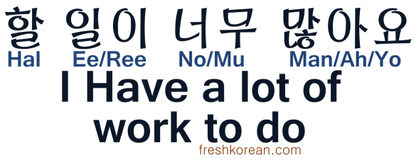 I have a lot of work to do - Fresh Korean