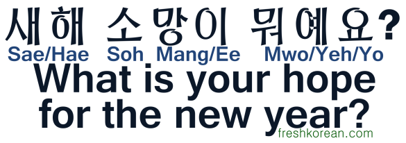 What is your hope for the new year - Fresh Korean