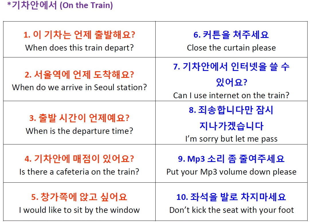 At the train station and on the train korean vocabulary and on the train korean phrases kristyandbryce Gallery