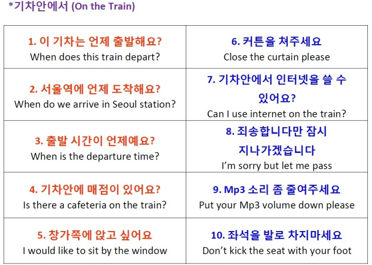 On the Train Korean Phrases