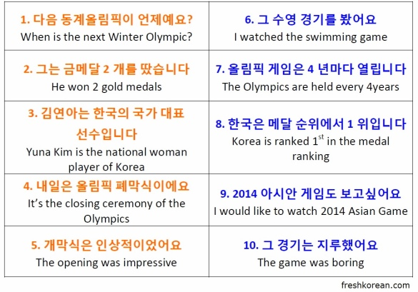Sochi 2014 Winter Olympic Korean Phrases