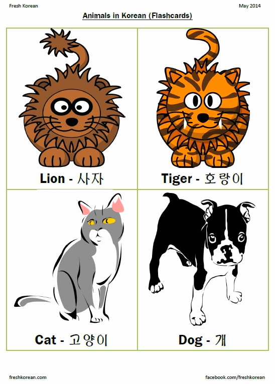 Animals in Korean - Flashcards