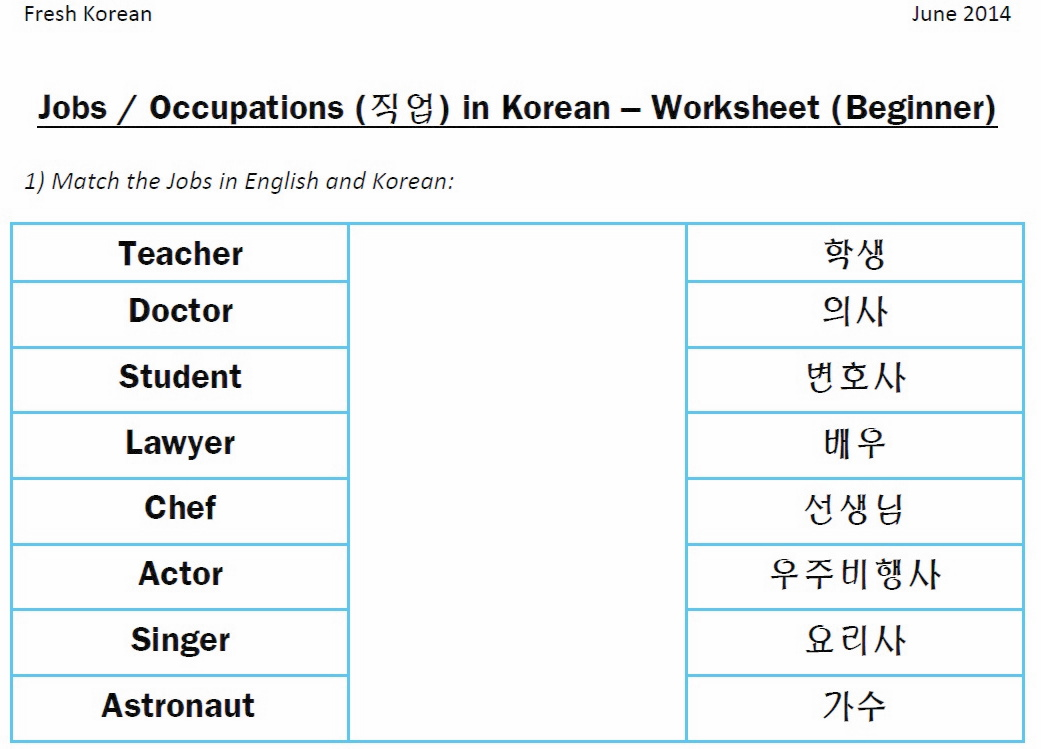 Worksheet Korean Worksheets For Beginners Pdf jobs in korean fresh worksheet q1