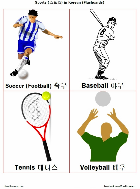 Sports in Korean Flashcards 1