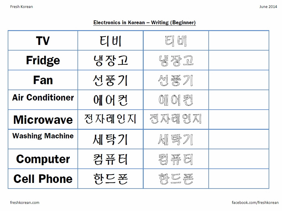 Printables Learning Korean Worksheets writing fresh korean electronics in worksheet