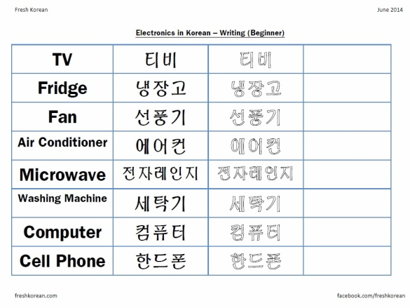 Electronics in Korean - Writing Worksheet
