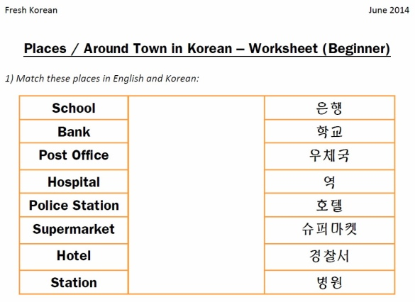 Places in Korean Worksheet Q1