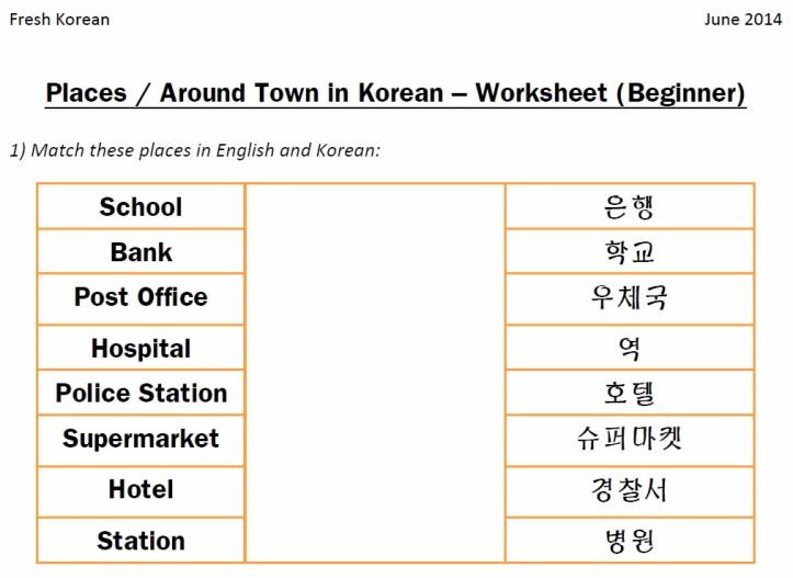 Places in Korean Worksheet Q1