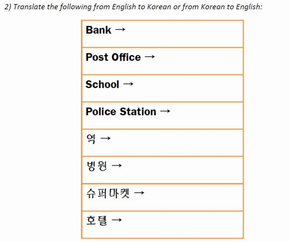 Places in Korean Worksheet Q2