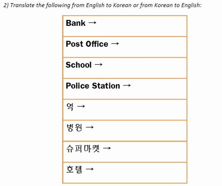 Places in Korean Worksheet Q2