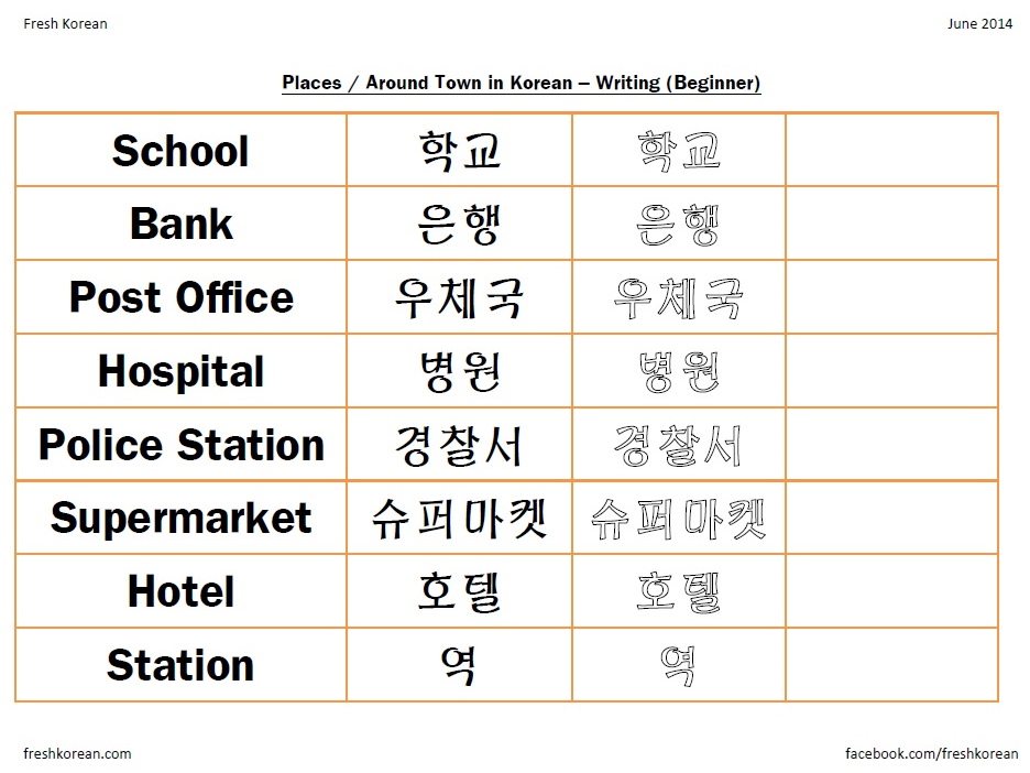 Worksheet Korean Worksheets For Beginners Pdf places around town in korean part 2 writing worksheet free pdf worksheet