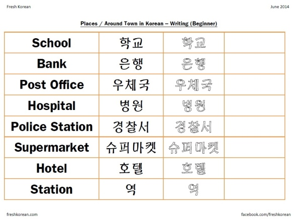 Places in Korean Writing Worksheet