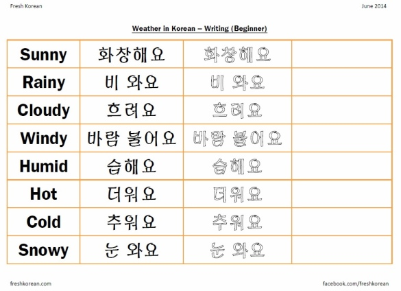 Weather Korean Writing