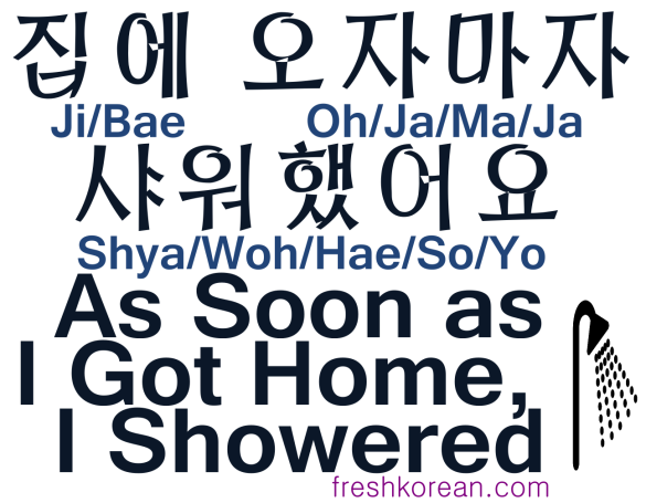 As soon as I got home I showered - Fresh Korean