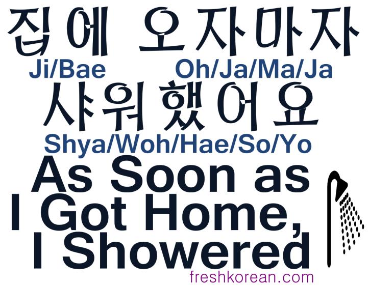 As soon as I got home I showered - Fresh Korean