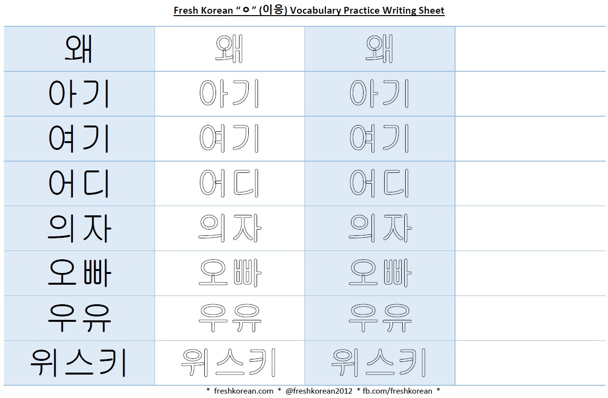 worksheet Korean Alphabet Worksheet korean vowels fresh vocabulary practice writing sheet