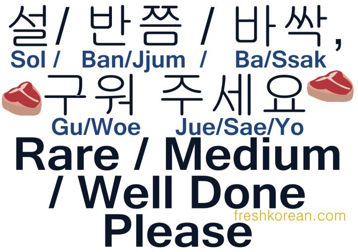 Rare Medium  Well Done Please - Fresh Korean Phrase Card