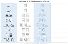 ㅍ vocabulary practice writing sheet