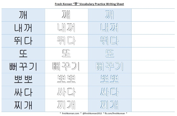 쌍 vocabulary practice writing sheet