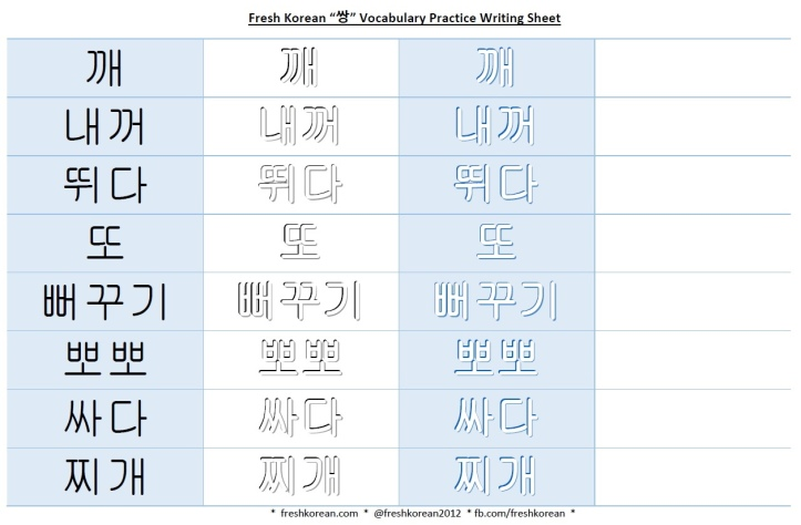 쌍 vocabulary practice writing sheet