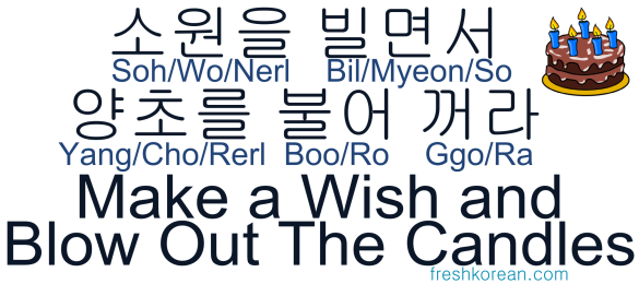 Make a wish and blow out the candles - Fresh Korean Phrase Card