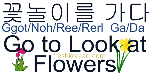 Go to look at flowers - Fresh Korean Phrase Card