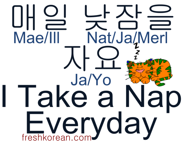 I take a nap everyday - Fresh Korean Phrase Card