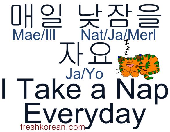 I take a nap everyday - Fresh Korean Phrase Card
