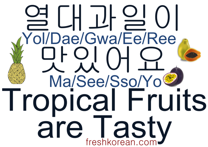 tropical fruits are tasty - Fresh Korean Phrase Card