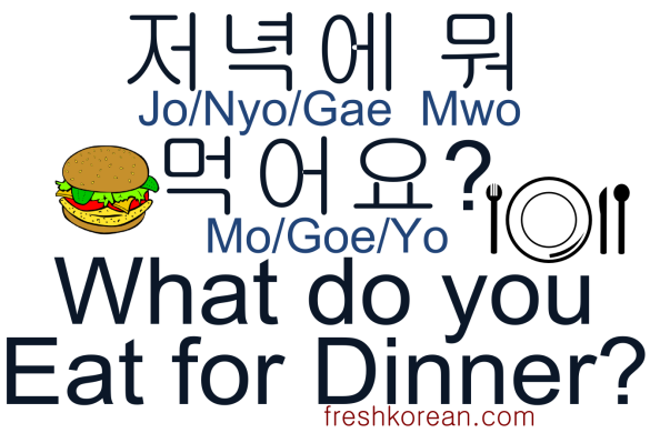 What do you eat for dinner - Fresh Korean Phrase Card